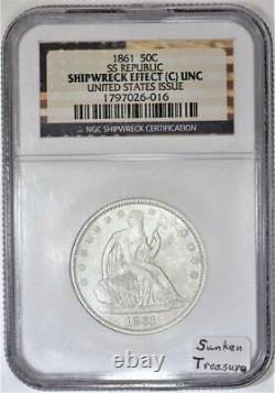 1861 Seated Half Dollar SS Republic NGC Shipwreck Effect Unc U. S. Issue