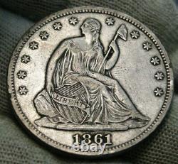 1861 Seated Liberty Half Dollar 50C Nice Coin, Free Shipping 505