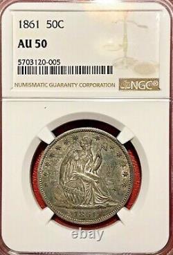 1861 Seated Liberty Half Dollar Ngc Au-50