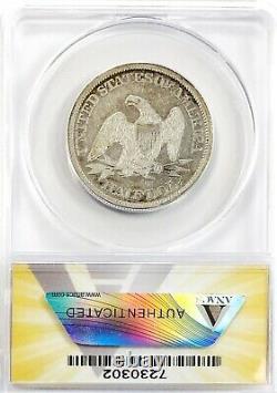 1861 Seated Liberty Half Dollar Silver 50C Circulated Very Fine ANACS VF25