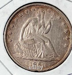 1861 Seated Liberty Silver Silver Half Dollar Coin 50c AU About Uncirculated
