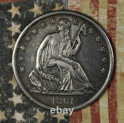 1861-s Seated Liberty Silver Half Dollar Collector Coin Free Shipping