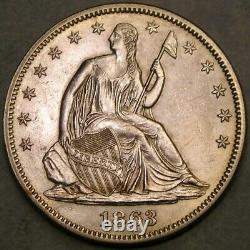 1863 Liberty Seated Silver Half Dollar Appealing Gorgeous Scarce Uncirculatd Gem