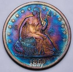 1863 S Seated Liberty Half Dollar Key Date Rare With Chop Marks. #201