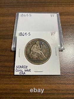 1864-S Seated Liberty Silver Half Dollar 50C VERY FINE (VF) Type 2, No Motto