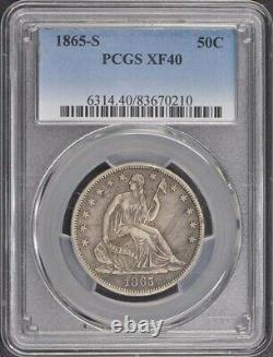 1865-S 50C Liberty Seated Half Dollar PCGS XF40