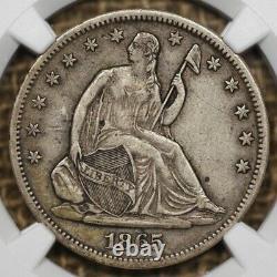 1865-S 50C NGC XF45 Liberty Seated Half Dollar, Tough Date, Original Surfaces