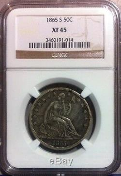 1865-S Seated Liberty Silver Half Dollar NGC XF 45