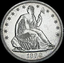 1868 PROOF Seated Liberty Half Dollar Silver - GEM PROOF Details - #L238