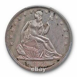 1869 50C Liberty Seated Half Dollar PCGS PR 63 Proof Purple Toned Beauty