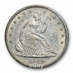 1869 50C Seated Liberty Half Dollar PCGS AU 55 About Uncirculated Better Date