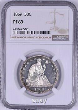 1869 50c Seated Liberty Silver Half Dollar NGC PF63 Looks Cameo