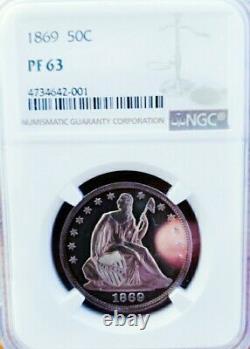1869 Pf63 Seated Liberty Half Dollar Proof /cameo /pq+++