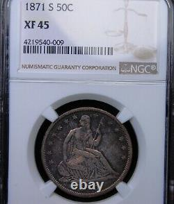1871 S Seated Liberty Half Dollar Ngc Xf 45 Highly Lustrous With Excellent Color