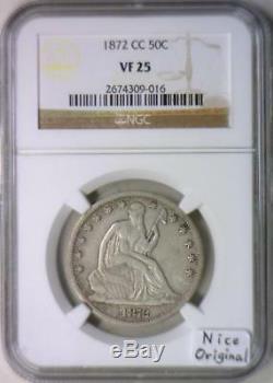 1872-CC Seated Liberty Half Dollar NGC VF-25 Nice Original