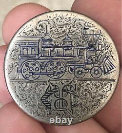 1872 Pictorial LOCOMOTIVE TRAIN Engraved LOVE TOKEN Seated Half Dollar VERY RARE