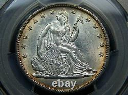 1873 50C Seated Liberty Half Dollar No Arrows, Closed 3 AU-58 PCGS, Nice Coin