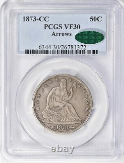1873-CC 50c Arrows Seated Liberty Half Dollar PCGS VF30 CAC Nice Original Coin