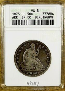 1873-CC Arrows ANACS VG08 Seated Half Dollar Open 3 Small CC Better Date