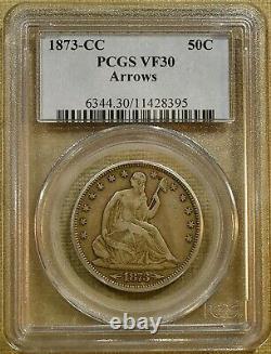 1873-CC Arrows PCGS VF30 Seated Half Dollar Key Date
