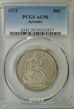 1873 Seated half dollar, Arrows, PCGS AU50