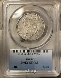 1874 Arrows Seated Liberty 50c PCGS XF45 Great Coin! Very Tough Date