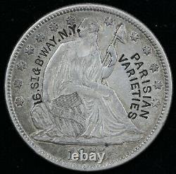 1875 50c Seated Liberty Half Dollar Parisian Varieties New York Counterstamp