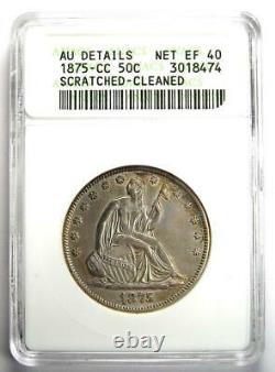 1875-CC Seated Liberty Half Dollar 50C Coin Certified ANACS AU Details Rare