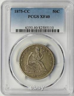 1875-CC Seated Liberty Half Dollar 50c PCGS XF40