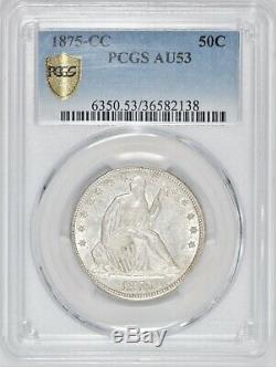 1875-CC Seated Liberty Half Dollar PCGS AU53 Nice Luster! #BBN7