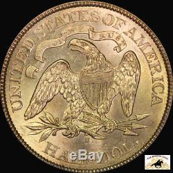 1875 S SEATED LIBERTY HALF DOLLAR PCGS MS 63 1st GEN RATTLER CAC PQ