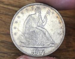 1875 Seated Liberty Half Dollar CHOICE AU Details OUTSTANDING PATINA Estate Find