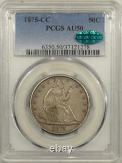 1875-cc Seated Liberty Half Dollar Pcgs Au-50, Cac Approved! Pop 1