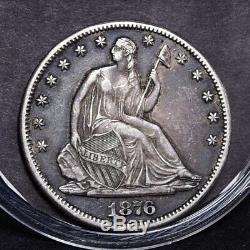 1876-CC Liberty Seated Half Dollar Ch XF (#32201)