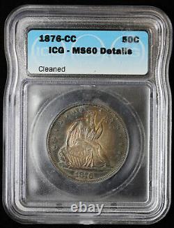 1876-CC Seated Liberty Half Dollar 50c ICG MS 60 Details Toned
