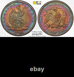 1876 PCGS VF Work of Art! CENTENNIAL Seated Liberty Half Dollar SUPER COLORS 50C