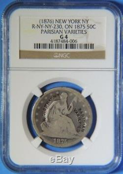 1876 Parisian Varieties New York Counterstamp on 1875 Seated Half Dollar NGC G4