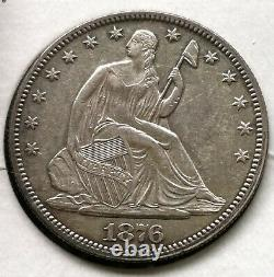 1876 Seated Liberty Half Dollar 50c Almost Uncirculated Details Type Coin
