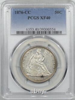1876-cc Liberty Seated Half Dollar Pcgs Xf-40