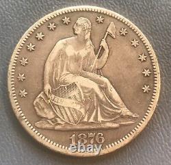 1876-cc. Seated Liberty half dollar, scarce