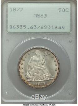 1877 LIBERTY SEATED HALF PCGS-63, OLD RATTER NICE AND ORIGINAL iux
