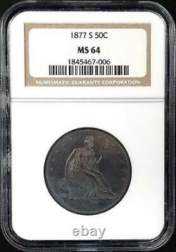 1877 S Seated Liberty Half Dollar certified MS 64 by NGC! Superb dark toning