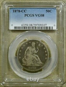 1878-CC PCGS VG08 Seated Half Dollar Key Date