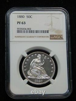 1880 50C Proof Seated Liberty Half Dollar PF-63 NGC, Looks Absolutely Cameo! WOW