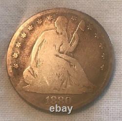 1880 seated Liberty half dollar, Good + scarce