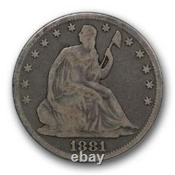 1881 50C Seated Liberty Half Dollar Good G Original Toned Key Date R352