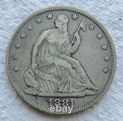 1881 Seated Liberty Half Dollar Very Rare Key Date Full Liberty Mintage 10,000