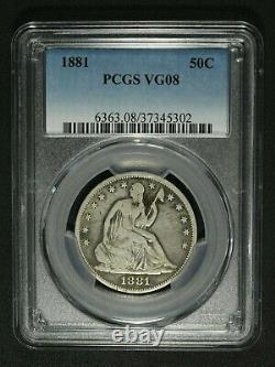 1881 Seated Liberty Silver Half Dollar PCGS VG 08