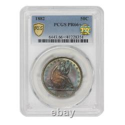 1882 50c Silver Liberty Seated Half Dollar PCGS PR66+ PQ Approved Proof Toning