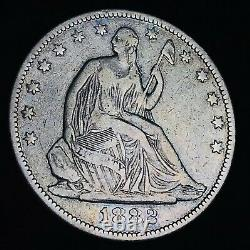 1882 Seated Liberty Half Dollar 50C KEY DATE Business Good Silver US Coin CC6900